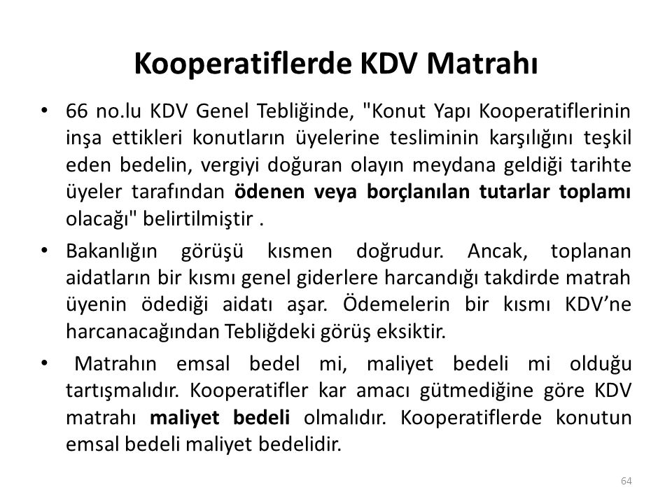 Kooperatiflerde KDV Matrahı