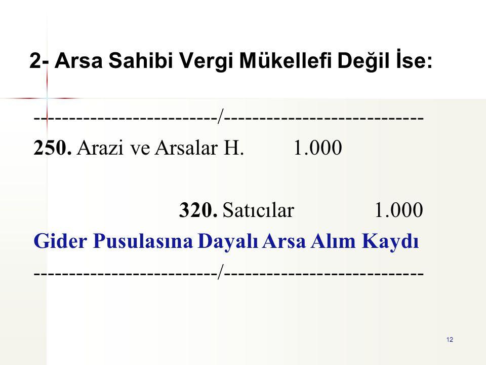 2- Arsa Sahibi Vergi Mükellefi Değil İse: