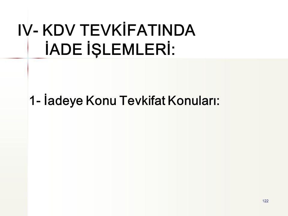 IV- KDV TEVKİFATINDA İADE İŞLEMLERİ: