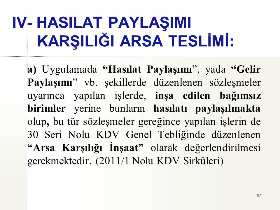 IV- HASILAT PAYLAŞIMI KARŞILIĞI ARSA TESLİMİ: