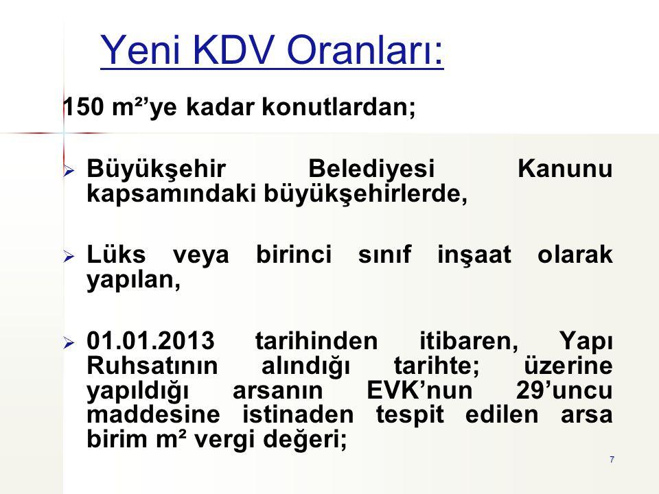 Yeni KDV Oranları: 150 m²'ye kadar konutlardan;