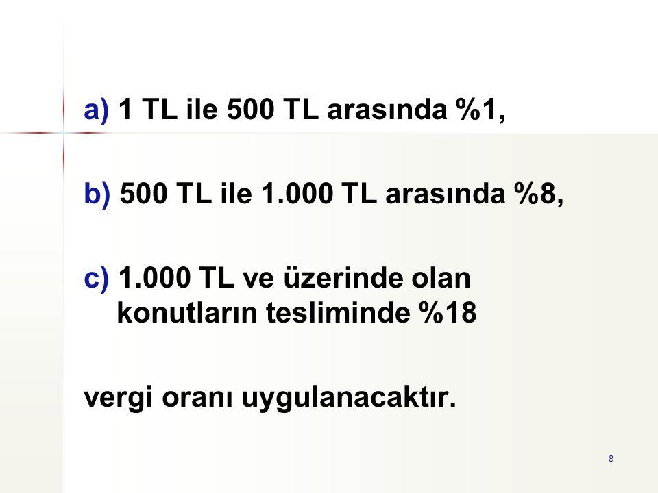 a) 1 TL ile 500 TL arasında %1, b) 500 TL ile 1.000 TL arasında %8, c) 1.000 TL ve üzerinde olan konutların tesliminde %18.