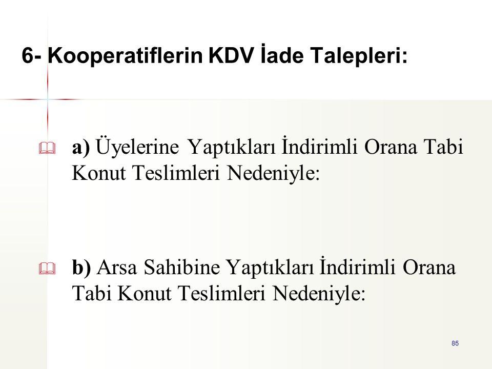 6- Kooperatiflerin KDV İade Talepleri: