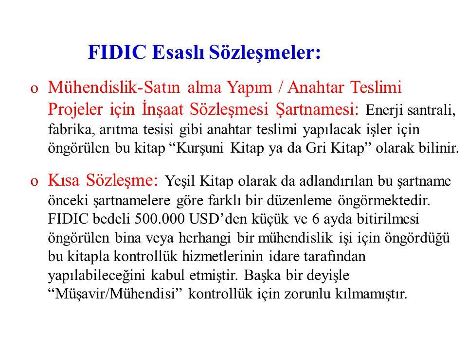 FIDIC Esaslı Sözleşmeler: