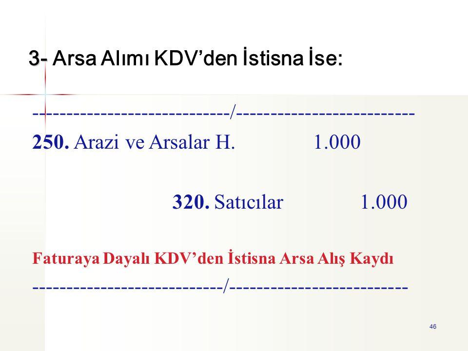 3- Arsa Alımı KDV'den İstisna İse: