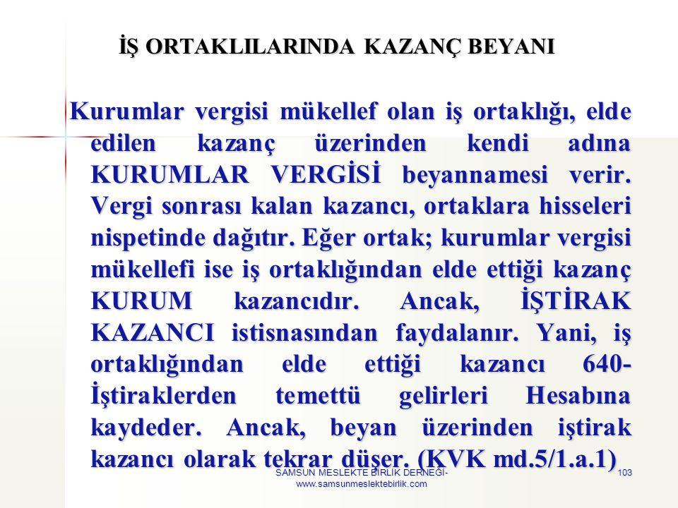 İŞ ORTAKLILARINDA KAZANÇ BEYANI