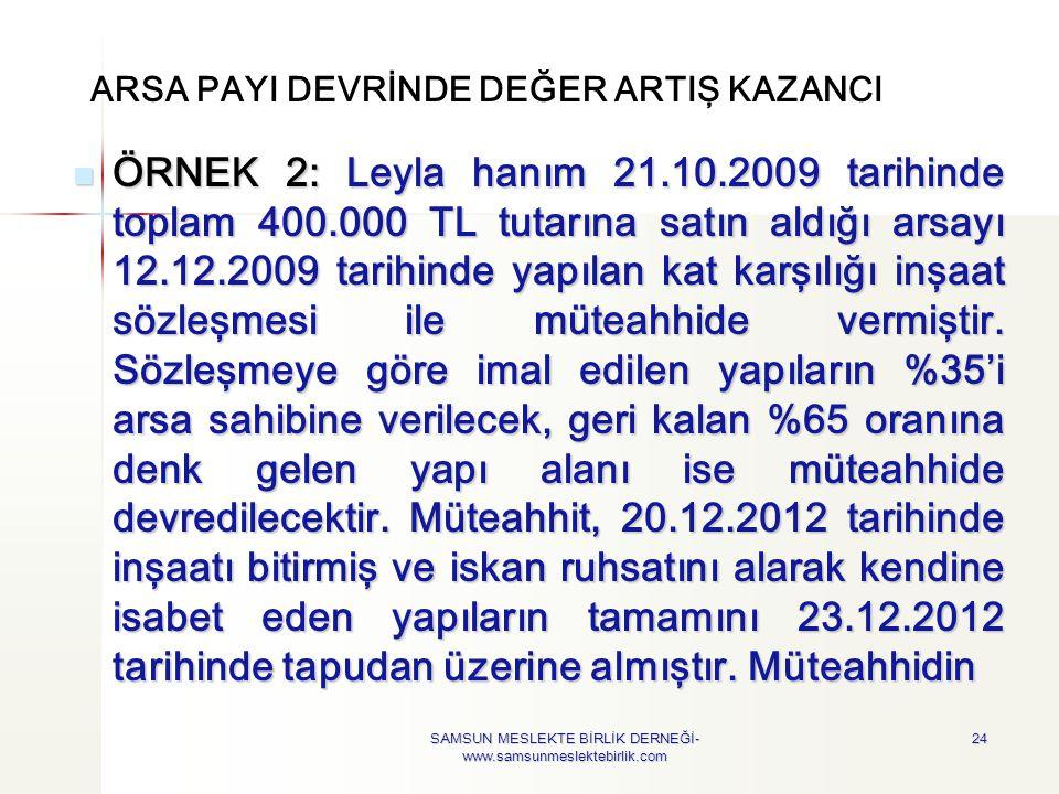 ARSA PAYI DEVRİNDE DEĞER ARTIŞ KAZANCI