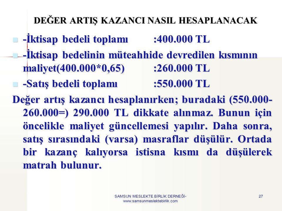 DEĞER ARTIŞ KAZANCI NASIL HESAPLANACAK