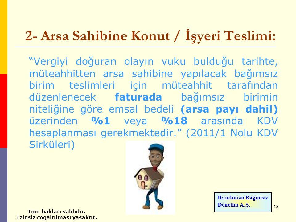 2- Arsa Sahibine Konut / İşyeri Teslimi: