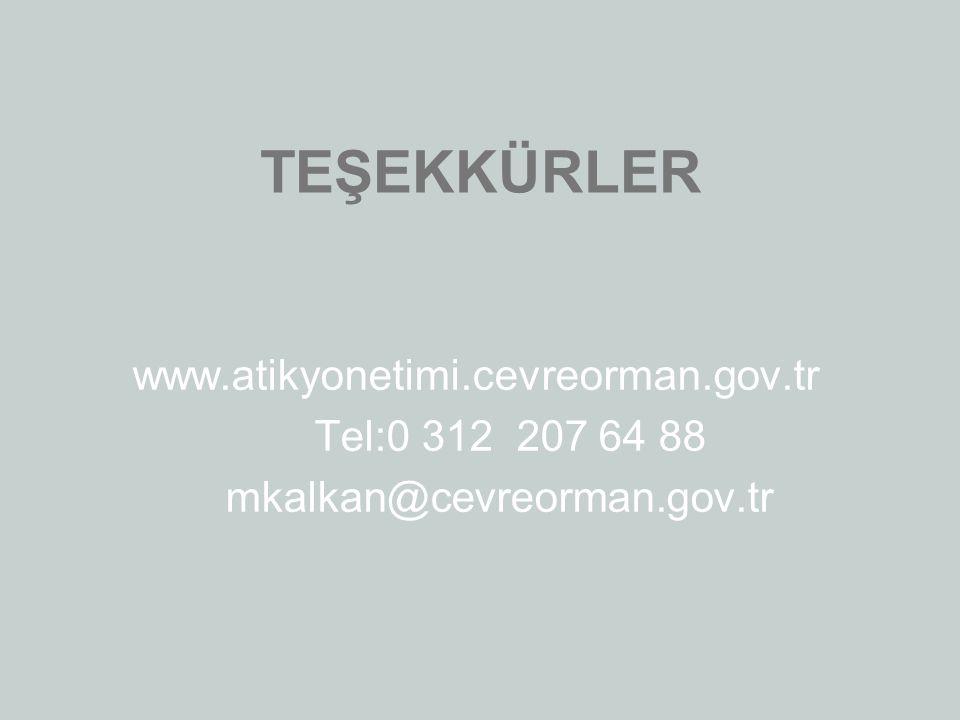 TEŞEKKÜRLER www.atikyonetimi.cevreorman.gov.tr Tel:0 312 207 64 88