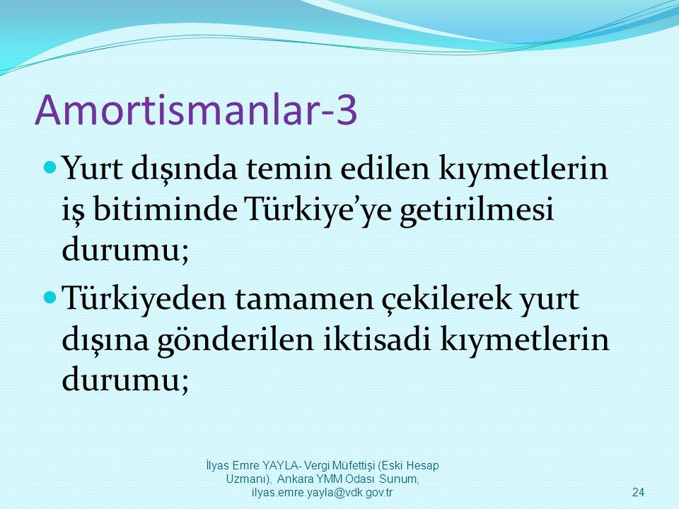 Amortismanlar-3 Yurt dışında temin edilen kıymetlerin iş bitiminde Türkiye'ye getirilmesi durumu;