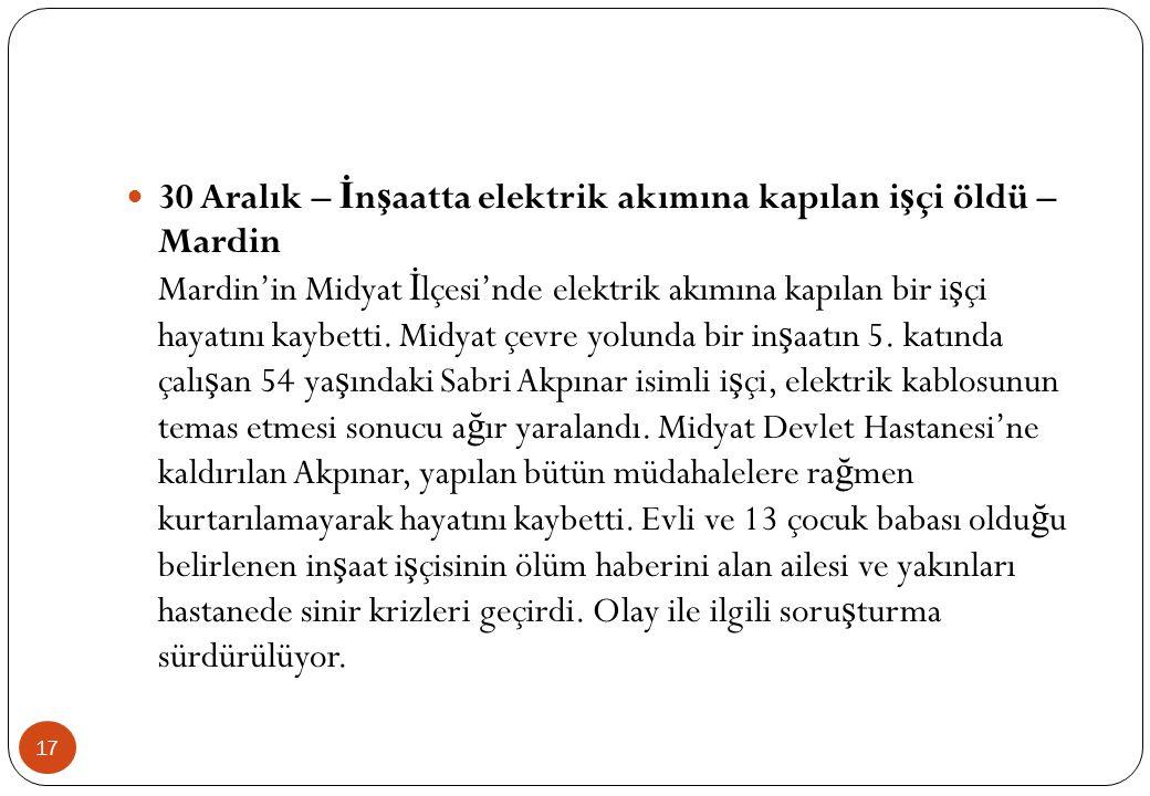 30 Aralık – İnşaatta elektrik akımına kapılan işçi öldü – Mardin Mardin'in Midyat İlçesi'nde elektrik akımına kapılan bir işçi hayatını kaybetti.