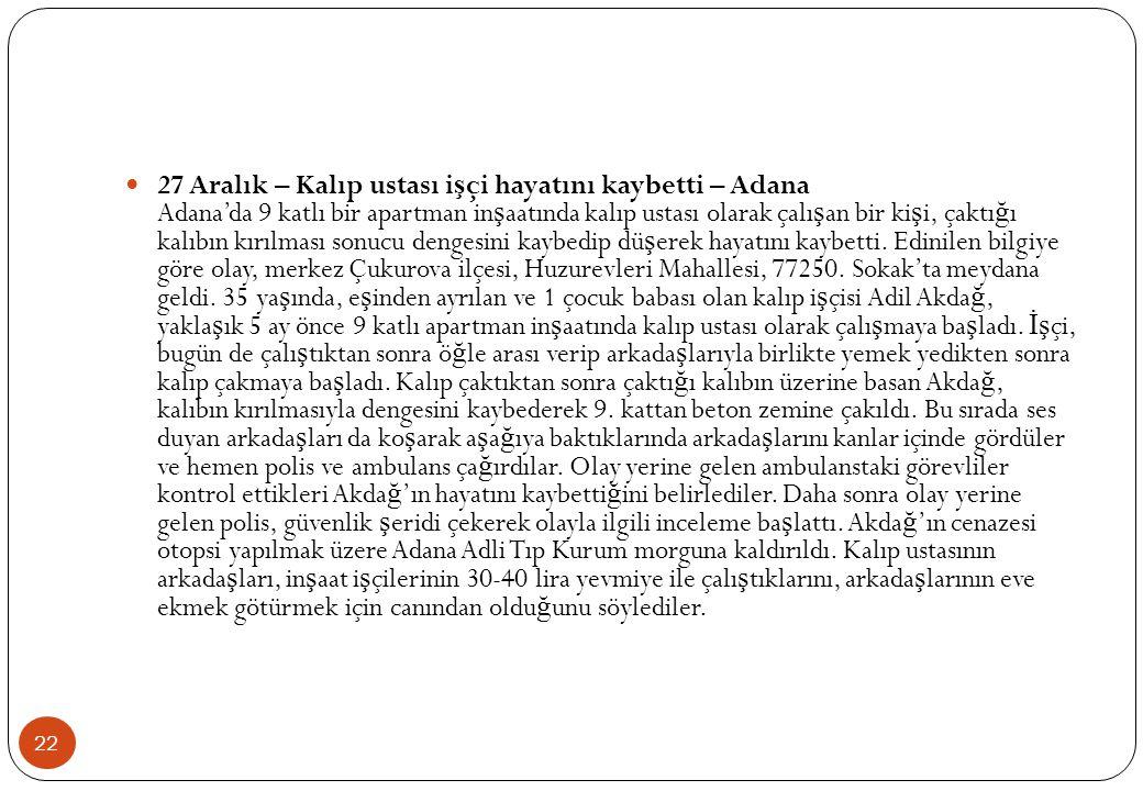 27 Aralık – Kalıp ustası işçi hayatını kaybetti – Adana Adana'da 9 katlı bir apartman inşaatında kalıp ustası olarak çalışan bir kişi, çaktığı kalıbın kırılması sonucu dengesini kaybedip düşerek hayatını kaybetti.