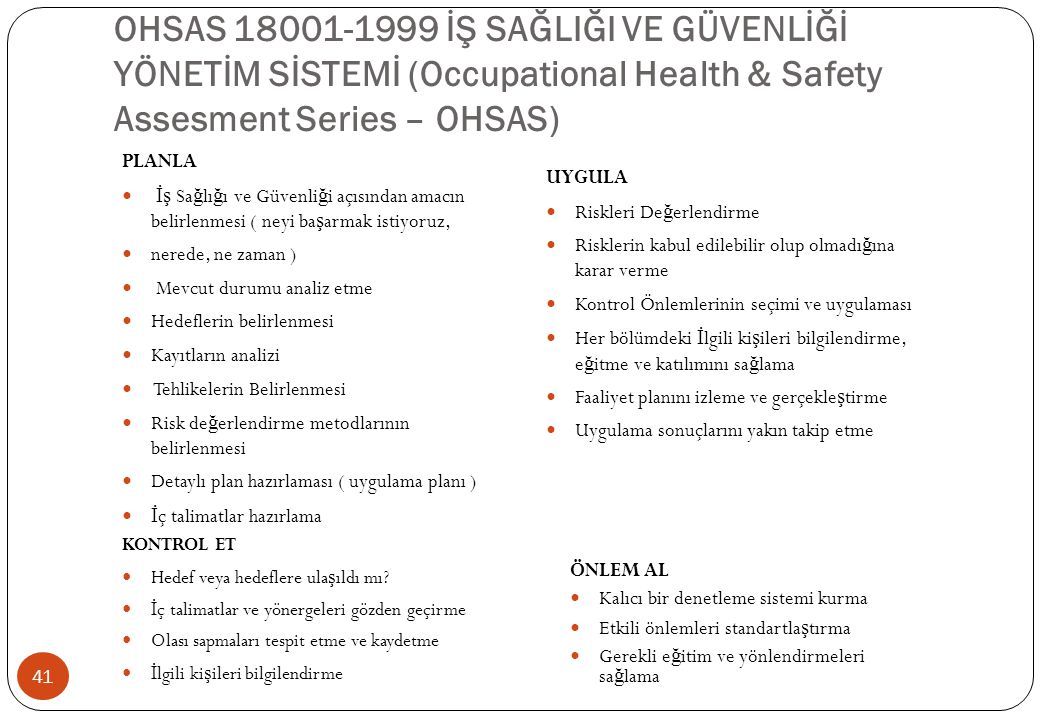 OHSAS 18001-1999 İŞ SAĞLIĞI VE GÜVENLİĞİ YÖNETİM SİSTEMİ (Occupational Health & Safety Assesment Series – OHSAS)