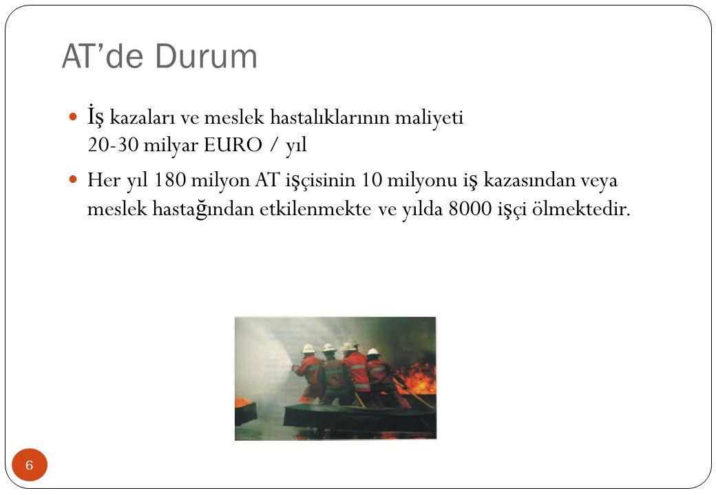 AT'de Durum İş kazaları ve meslek hastalıklarının maliyeti 20-30 milyar EURO / yıl.