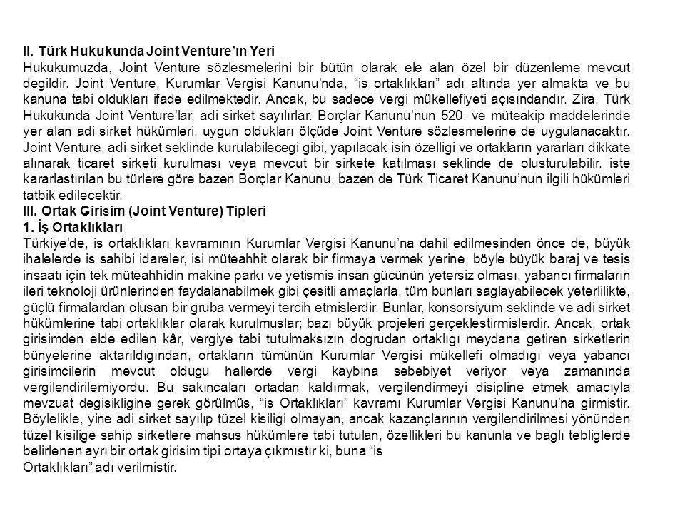 II. Türk Hukukunda Joint Venture'ın Yeri