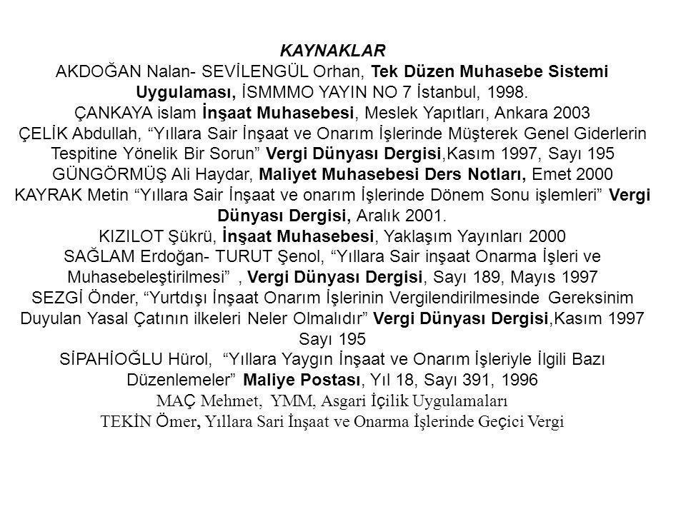 ÇANKAYA islam İnşaat Muhasebesi, Meslek Yapıtları, Ankara 2003