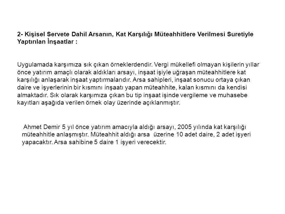 2- Kişisel Servete Dahil Arsanın, Kat Karşılığı Müteahhitlere Verilmesi Suretiyle Yaptırılan İnşaatlar :