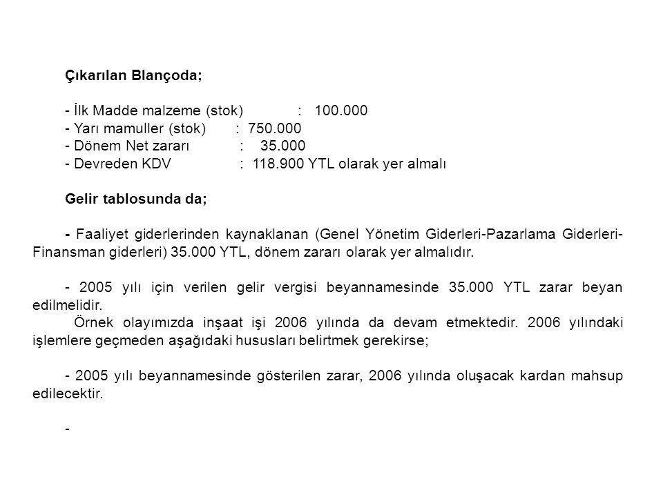 Çıkarılan Blançoda; - İlk Madde malzeme (stok) : 100.000. - Yarı mamuller (stok) : 750.000.