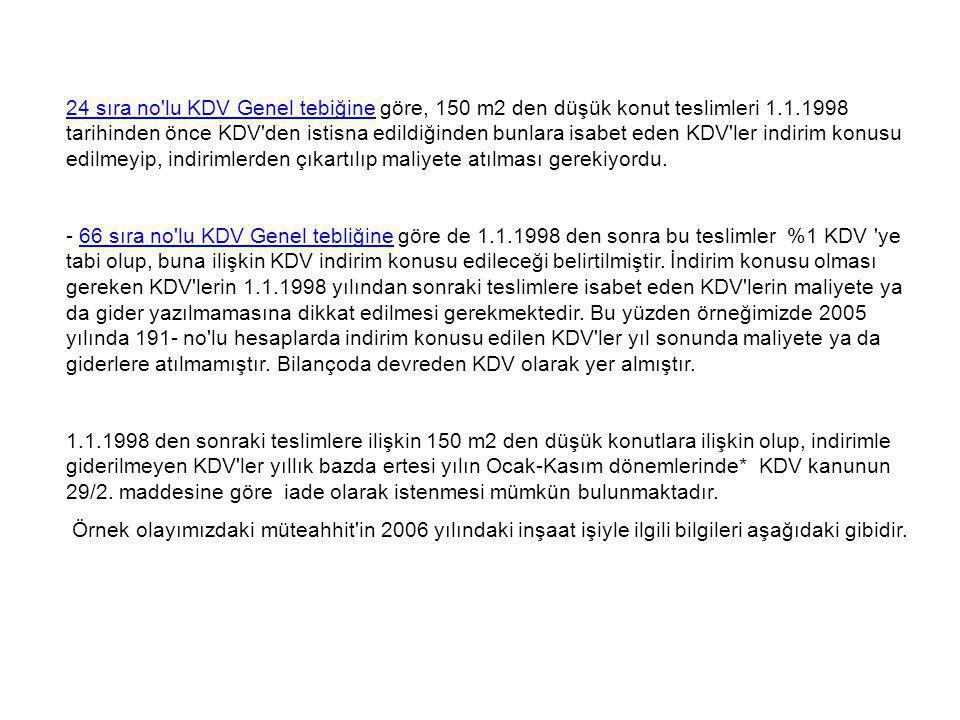 24 sıra no lu KDV Genel tebiğine göre, 150 m2 den düşük konut teslimleri 1.1.1998 tarihinden önce KDV den istisna edildiğinden bunlara isabet eden KDV ler indirim konusu edilmeyip, indirimlerden çıkartılıp maliyete atılması gerekiyordu.