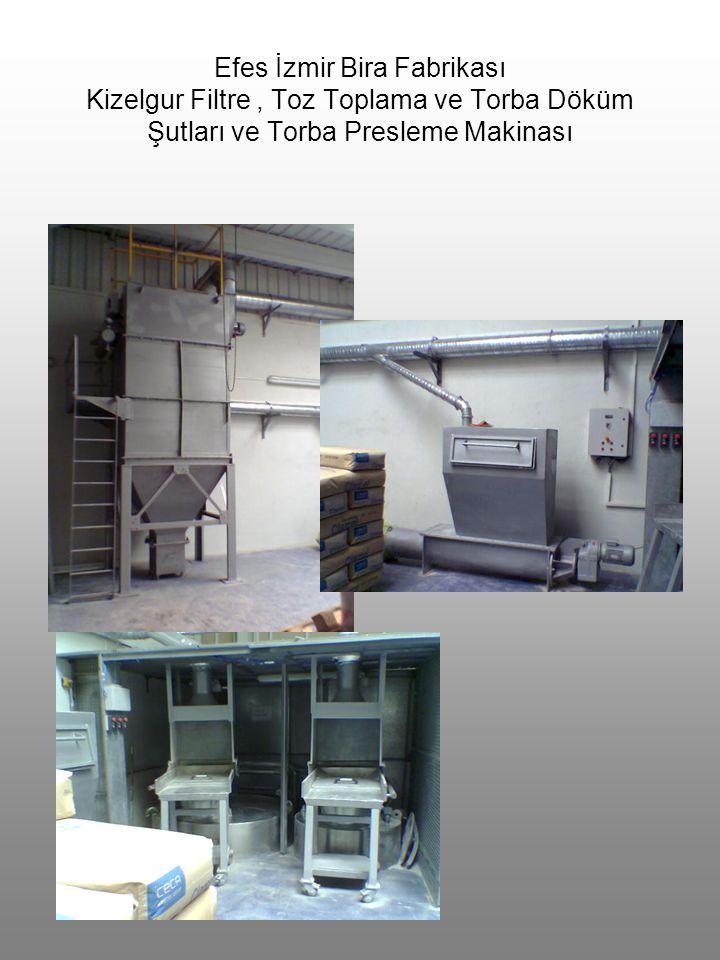 Efes İzmir Bira Fabrikası Kizelgur Filtre , Toz Toplama ve Torba Döküm Şutları ve Torba Presleme Makinası