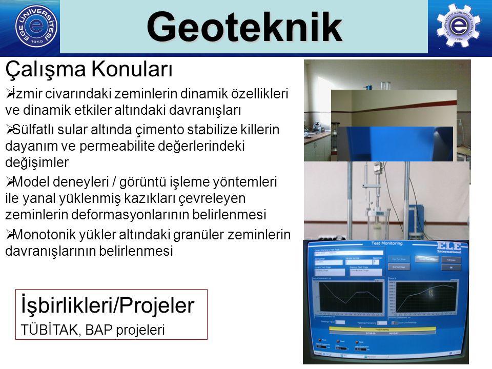 Geoteknik Çalışma Konuları İşbirlikleri/Projeler