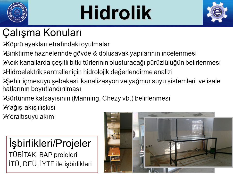 Hidrolik Çalışma Konuları İşbirlikleri/Projeler
