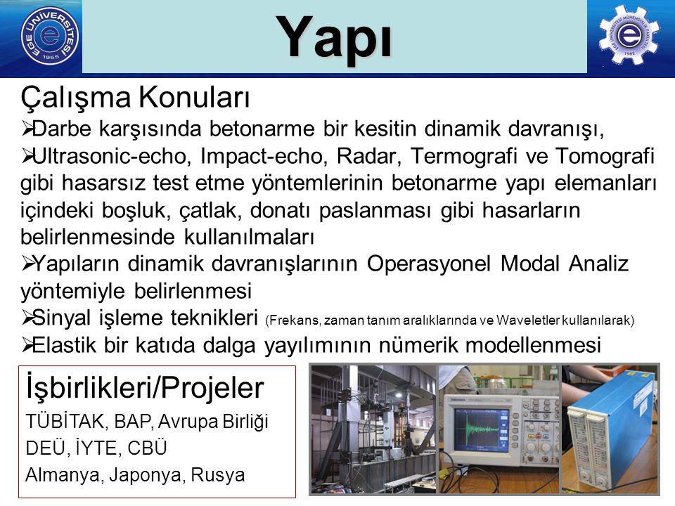 Yapı Çalışma Konuları İşbirlikleri/Projeler