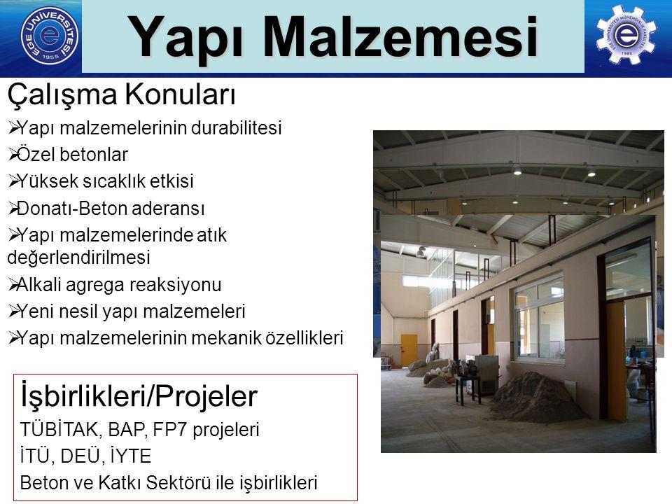 Yapı Malzemesi Çalışma Konuları İşbirlikleri/Projeler