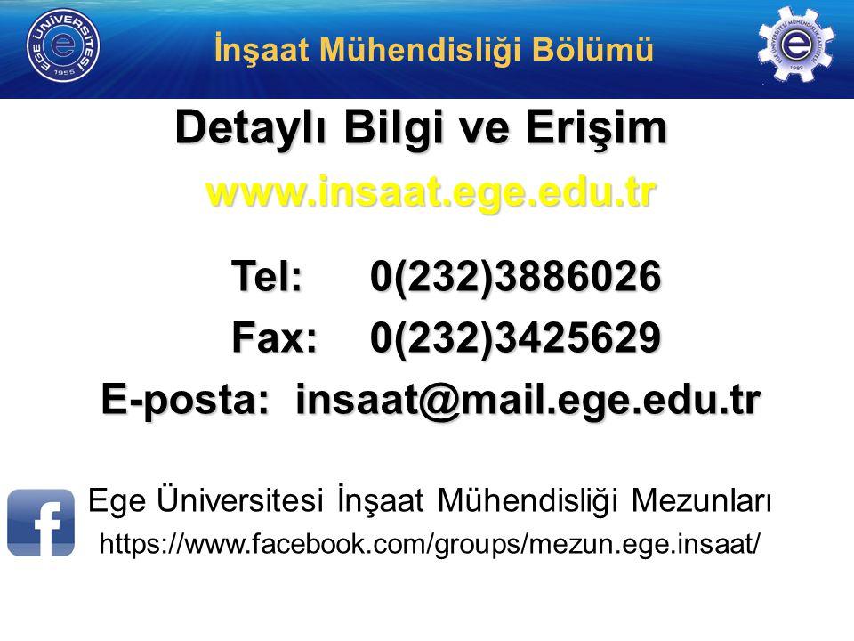 Detaylı Bilgi ve Erişim E-posta: insaat@mail.ege.edu.tr