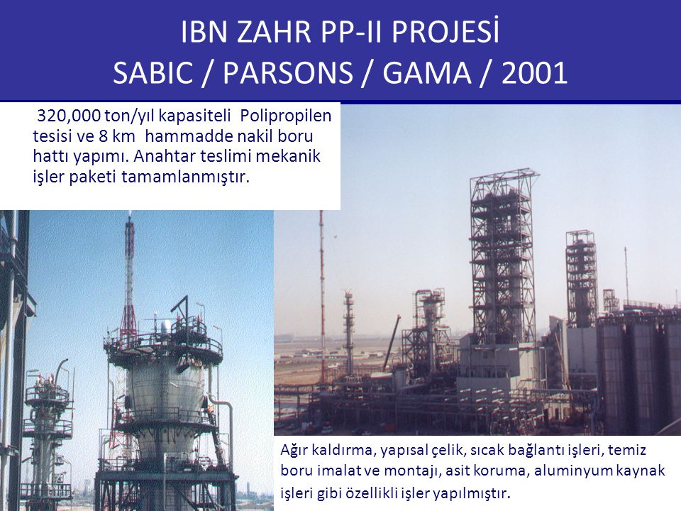 IBN ZAHR PP-II PROJESİ SABIC / PARSONS / GAMA / 2001