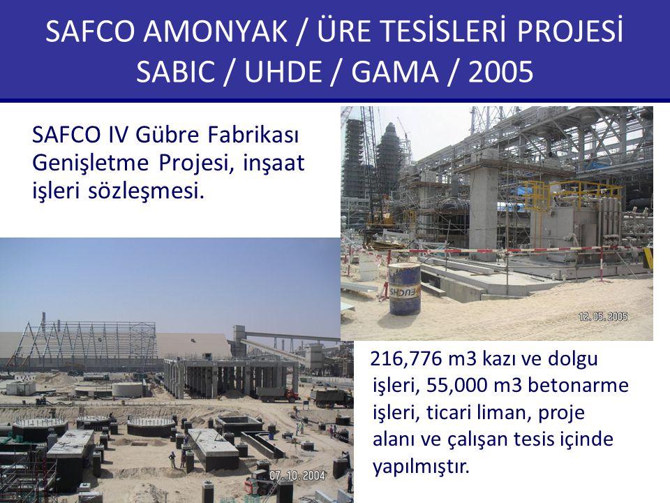 SAFCO AMONYAK / ÜRE TESİSLERİ PROJESİ SABIC / UHDE / GAMA / 2005