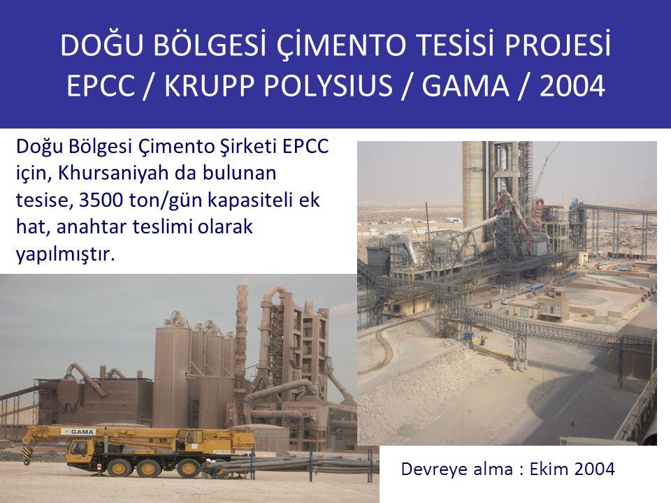 DOĞU BÖLGESİ ÇİMENTO TESİSİ PROJESİ EPCC / KRUPP POLYSIUS / GAMA / 2004