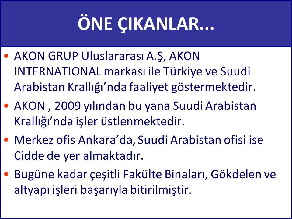 ÖNE ÇIKANLAR... AKON GRUP Uluslararası A.Ş, AKON INTERNATIONAL markası ile Türkiye ve Suudi Arabistan Krallığı'nda faaliyet göstermektedir.