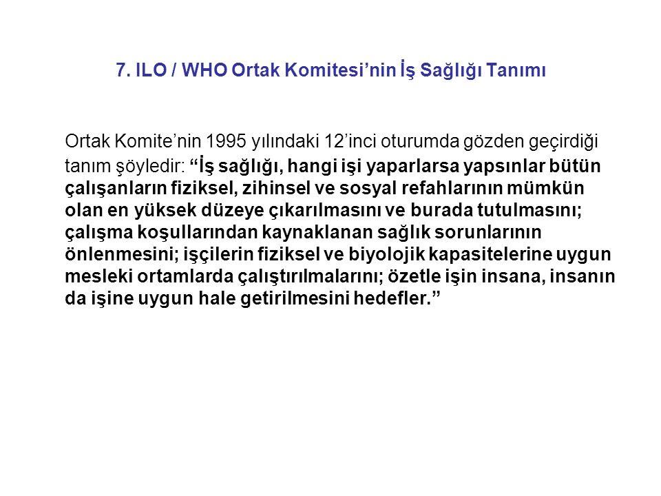 7. ILO / WHO Ortak Komitesi'nin İş Sağlığı Tanımı
