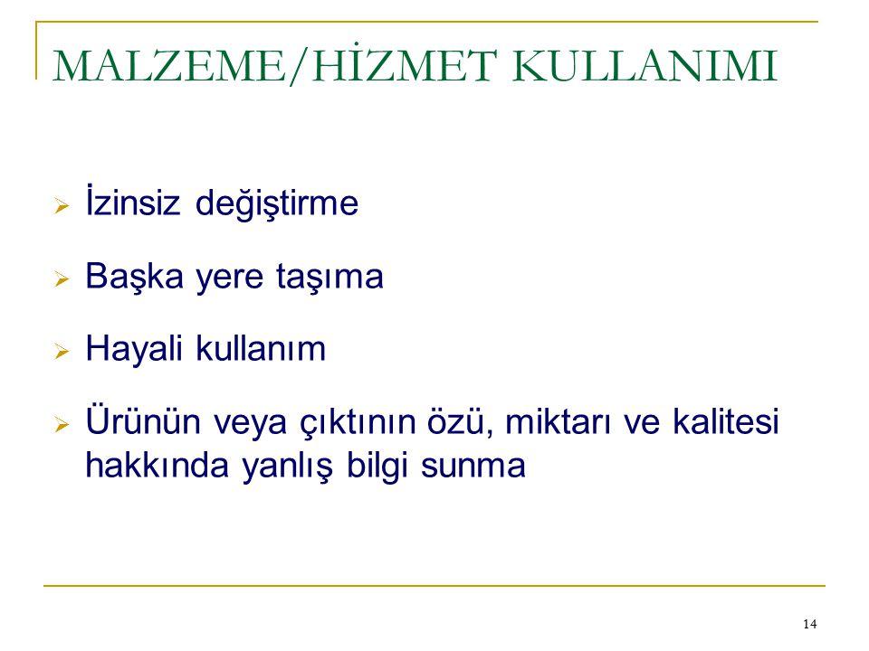MALZEME/HİZMET KULLANIMI