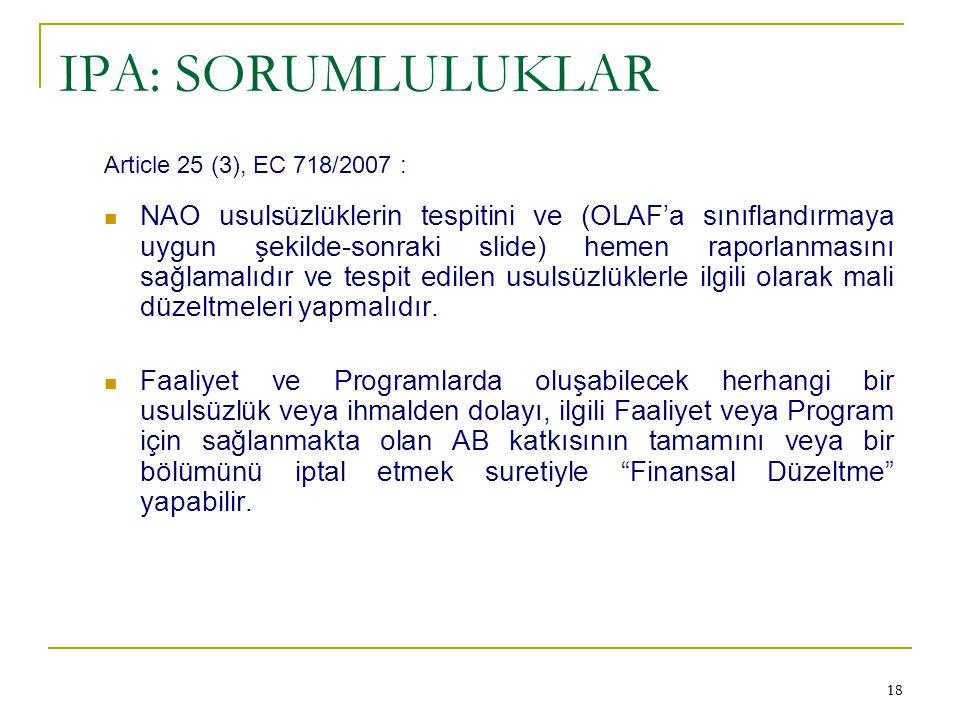 IPA: SORUMLULUKLAR Article 25 (3), EC 718/2007 :