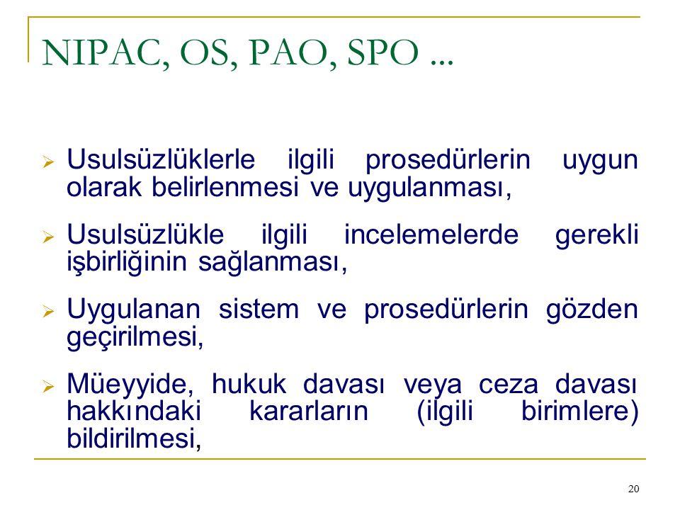NIPAC, OS, PAO, SPO ... Usulsüzlüklerle ilgili prosedürlerin uygun olarak belirlenmesi ve uygulanması,
