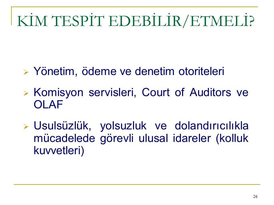 KİM TESPİT EDEBİLİR/ETMELİ