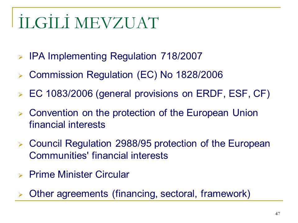 İLGİLİ MEVZUAT IPA Implementing Regulation 718/2007