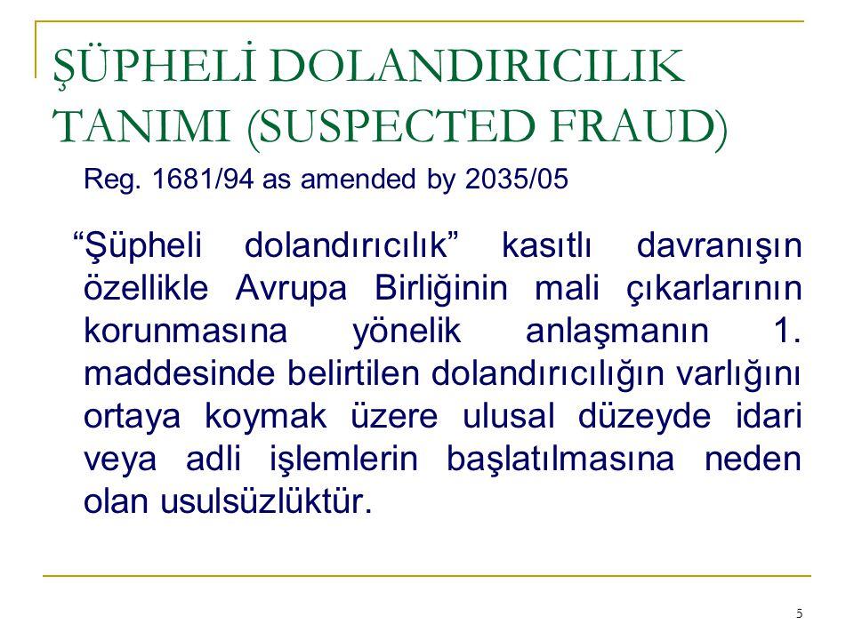 ŞÜPHELİ DOLANDIRICILIK TANIMI (SUSPECTED FRAUD)