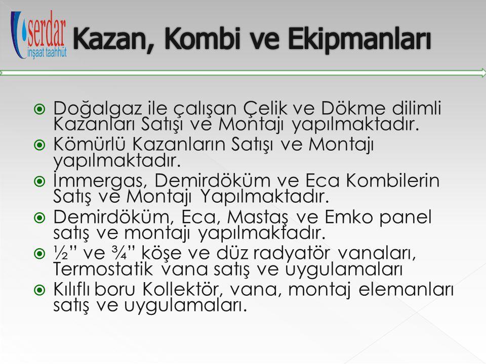 Kazan, Kombi ve Ekipmanları