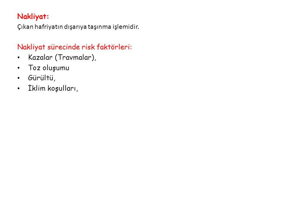 Nakliyat: Çıkan hafriyatın dışarıya taşınma işlemidir. Nakliyat sürecinde risk faktörleri: Kazalar (Travmalar),