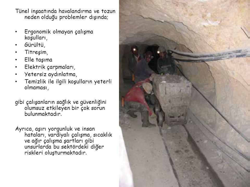 Tünel inşaatında havalandırma ve tozun neden olduğu problemler dışında;