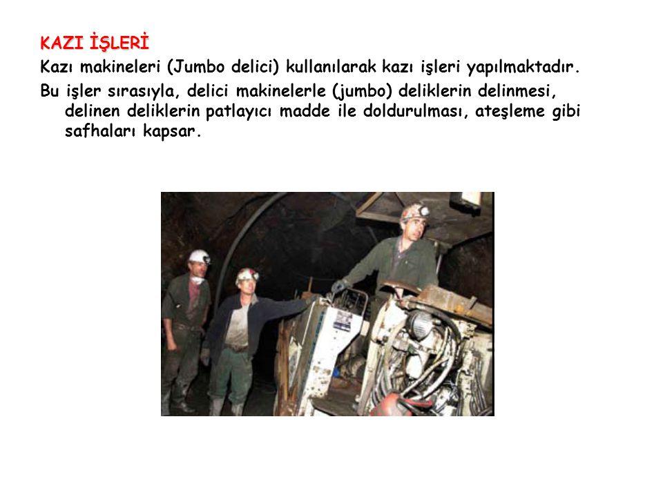 KAZI İŞLERİ Kazı makineleri (Jumbo delici) kullanılarak kazı işleri yapılmaktadır.