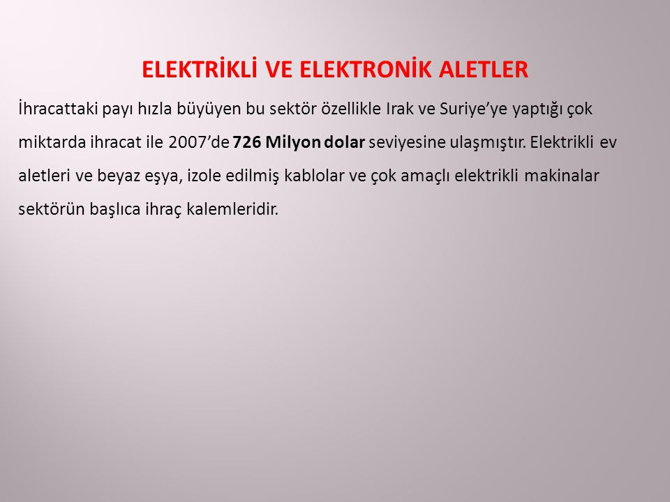 ELEKTRİKLİ VE ELEKTRONİK ALETLER