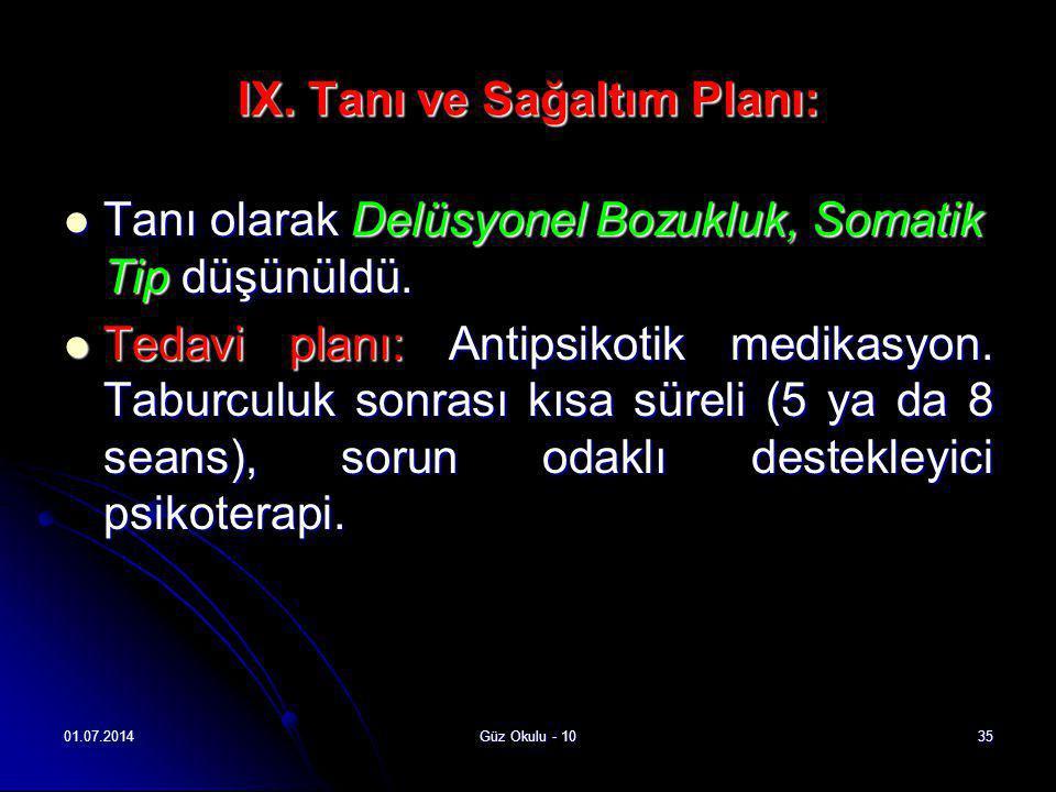 IX. Tanı ve Sağaltım Planı: