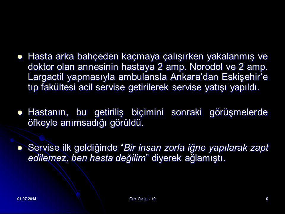 Hasta arka bahçeden kaçmaya çalışırken yakalanmış ve doktor olan annesinin hastaya 2 amp. Norodol ve 2 amp. Largactil yapmasıyla ambulansla Ankara'dan Eskişehir'e tıp fakültesi acil servise getirilerek servise yatışı yapıldı.