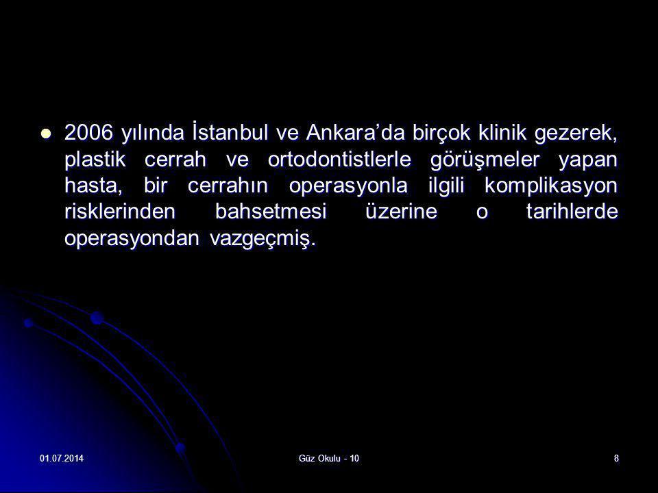 2006 yılında İstanbul ve Ankara'da birçok klinik gezerek, plastik cerrah ve ortodontistlerle görüşmeler yapan hasta, bir cerrahın operasyonla ilgili komplikasyon risklerinden bahsetmesi üzerine o tarihlerde operasyondan vazgeçmiş.