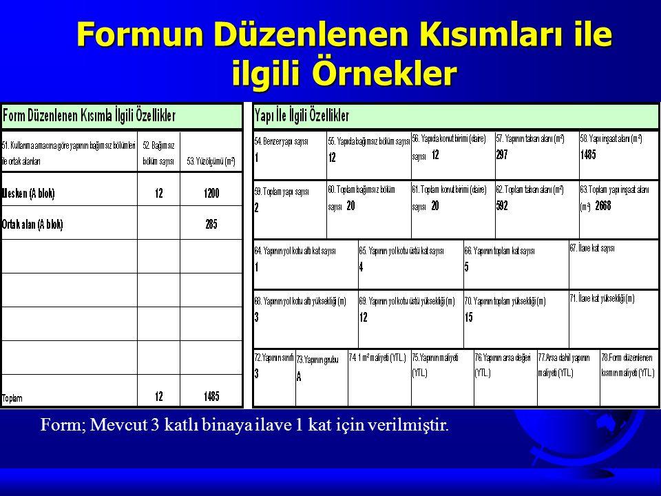 Formun Düzenlenen Kısımları ile ilgili Örnekler